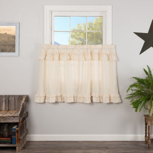 Muslin Ruffled Natural Tier Curtains 36""