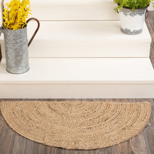 "Natural Half Circle Braided Rug 16.5x33"" - with Pad"