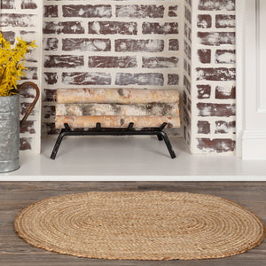 "Natural Oval Braided Rug 20x30"" - with Pad"