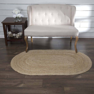 "Natural Oval Braided Rug 36x60"" - with Pad"