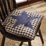 "Navy Star Chair Pad 15"" - Primitive Star Quilt Shop"