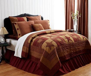 Ninepatch Star Quilt Bundle with Solid Bed Skirt