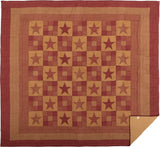 Ninepatch Star Quilt California King Quilt- Primitive Star Quilt Shop