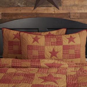 Ninepatch Star Quilted King Sham 21x37""