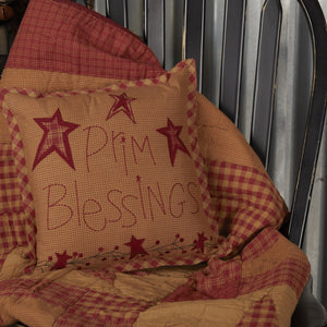 Ninepatch Star Prim Blessings Pillow 12""