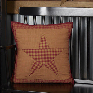 "Ninepatch Star Quilted Pillow 16"" Filled"