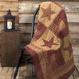 Ninepatch Star Quilted Throw - Primitive Star Quilt Shop