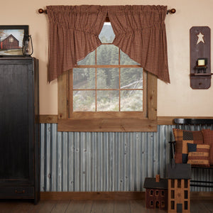 Patriotic Patch Lined Prairie Swag Curtains