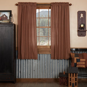 Patriotic Patch Lined Short Panel Curtains 63""