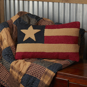 "Patriotic Patch Flag Hooked Pillow 14x22"" Filled"