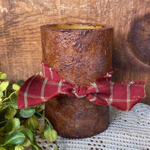 Grungy Battery Timer Pillar Candle - Mustard 4""