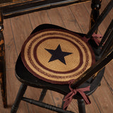 "Potomac Applique Star Braided Chair Pad 15"" - Set of 6 - Primitive Star Quilt Shop"