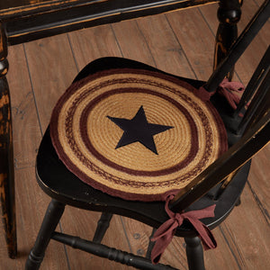 "Potomac Applique Star Braided Chair Pad 15"" - Set of 6"