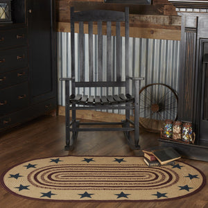 "Potomac Stencil Star Oval Braided Rug 36x60"" - with Pad"
