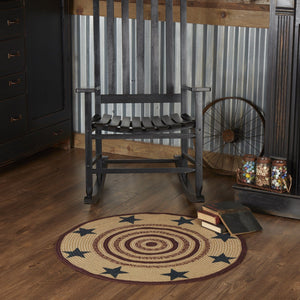 Potomac Stencil Star Round Braided Rug 3' - with Pad