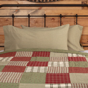 Prairie Winds Green Stripe King Pillow Case - Set of 2