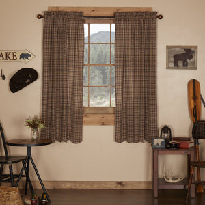 Prescott Scalloped Lined Short Panel Curtains 63""