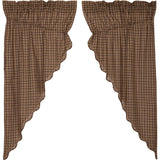 "Prescott Scalloped Lined Prairie Curtains 63"" - Primitive Star Quilt Shop"