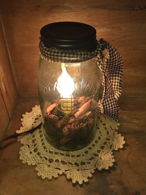 Quart Mason Jar Candle Lamp