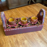 Red Flower Box with Pillar Candles Mustard / Gold- Primitive Star Quilt Shop