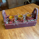 Red Flower Box with Pillar Candles Mustard / Ivory- Primitive Star Quilt Shop
