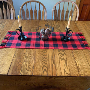 Red and Black Buffalo Check Woven Table Runner 32""