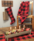 "Red and Black Buffalo Check Woven Table Runner 56"" - Primitive Star Quilt Shop"