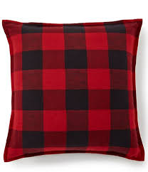 "Red and Black Buffalo Check Woven Pillow 16"" Filled"