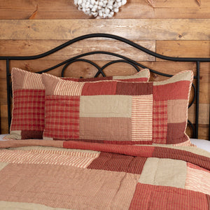 Rory Schoolhouse Red Quilted King Sham 21x37""