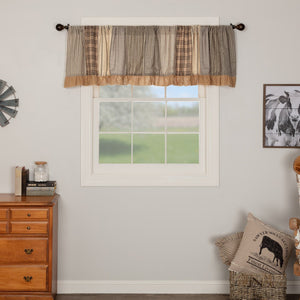 Sawyer Mill Charcoal Patchwork Lined Valance 90""