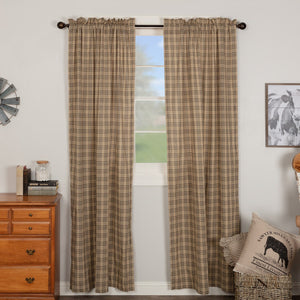 Sawyer Mill Charcoal Plaid Lined Panel Curtains 84""