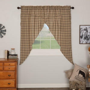 Sawyer Mill Charcoal Plaid Lined Prairie Curtains 63""
