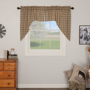 Sawyer Mill Charcoal Plaid Lined Swag Curtains
