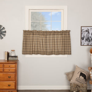 Sawyer Mill Charcoal Plaid Lined Tier Curtains 24""