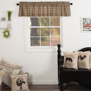 Sawyer Mill Charcoal Plaid Lined Valance 90""