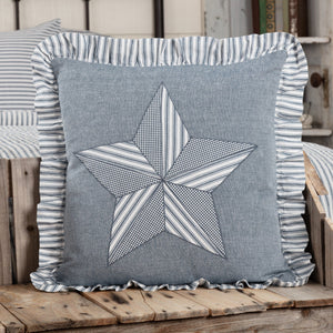 "Sawyer Mill Blue Barn Star Pillow 18"" Filled"