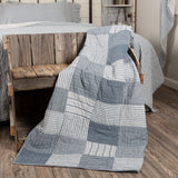 Sawyer Mill Blue Block Quilted Throw - Primitive Star Quilt Shop