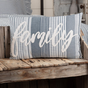 "Sawyer Mill Blue Family Pillow 14x22"" Filled"