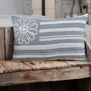 "Sawyer Mill Blue Flag Pillow 14x22"" Filled"