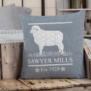 "Sawyer Mill Blue Lamb Pillow 18"" Filled"