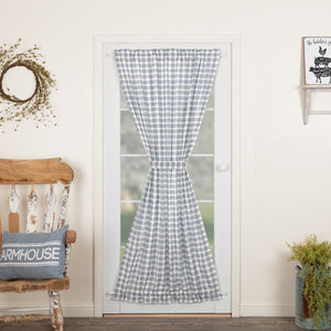 Sawyer Mill Blue Plaid Lined Door Panel Curtain 72""