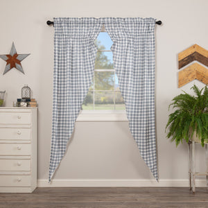 Sawyer Mill Blue Plaid Lined Long Prairie Curtains 84""