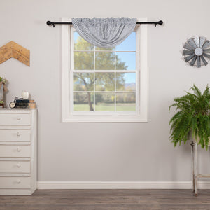 Sawyer Mill Blue Ticking Stripe Lined Balloon Valance