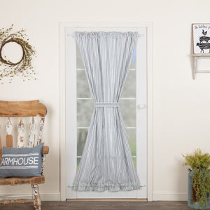 Sawyer Mill Blue Ticking Stripe Lined Door Panel Curtain 72""