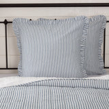 "Sawyer Mill Blue Ticking Stripe Fabric Euro Sham 26x26"" - Primitive Star Quilt Shop"