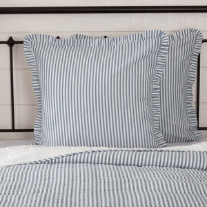 Sawyer Mill Blue Ticking Stripe Fabric Euro Sham 26x26""