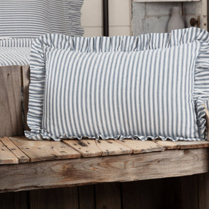 "Sawyer Mill Blue Ticking Stripe Fabric Pillow 14x22"" Filled"