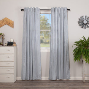 Sawyer Mill Blue Ticking Stripe Lined Panel Curtains 84""