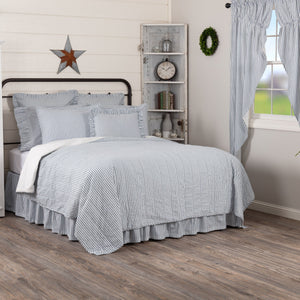 Sawyer Mill Blue Ticking Stripe Quilted Coverlet