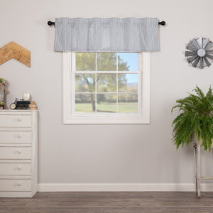 Sawyer Mill Blue Ticking Stripe Lined Valance 60""